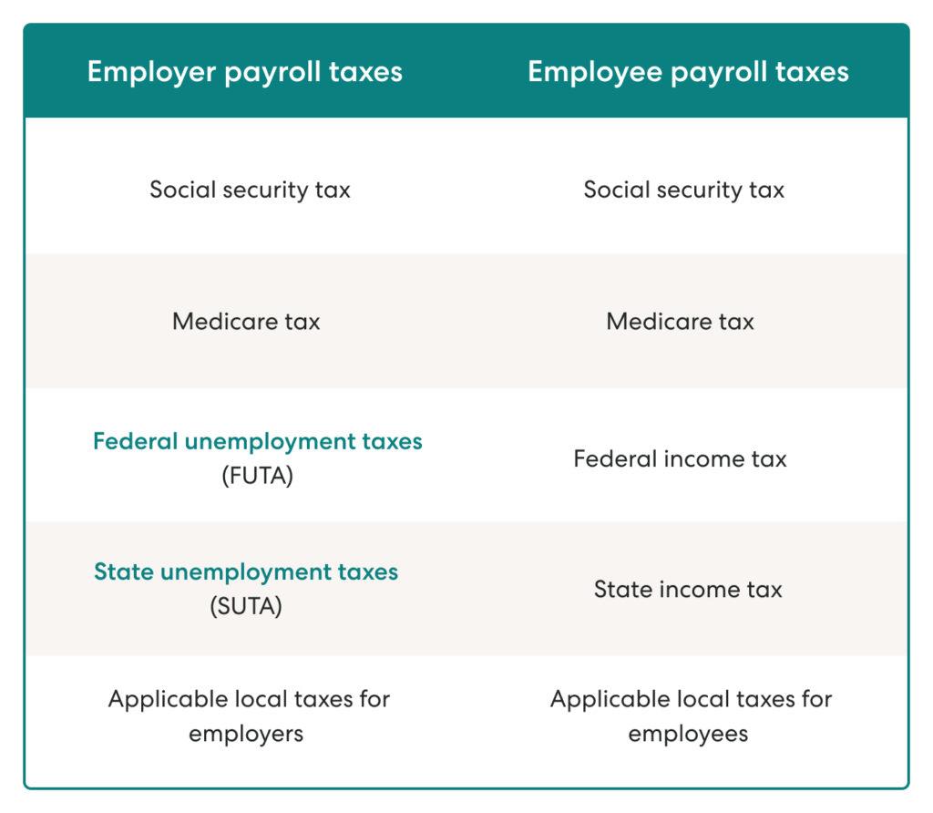 employer payroll taxes vs employee payroll taxes